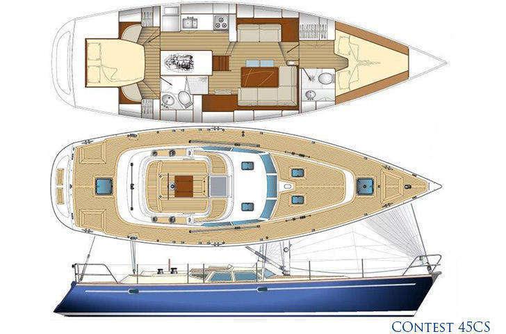 Contest 45cs hull, deck, sail, interior plan