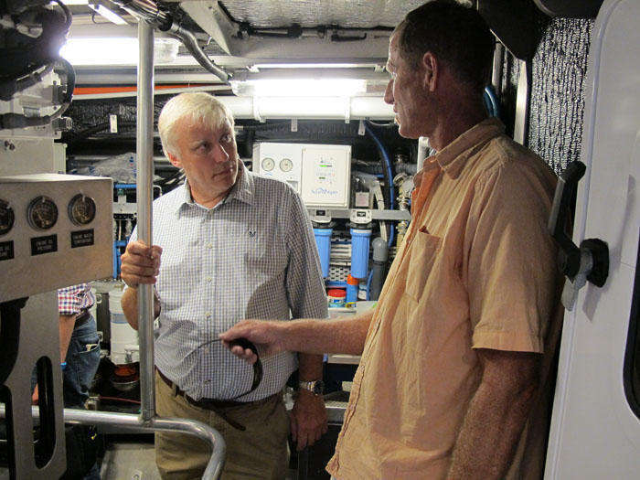 Guests in the engine room of FPB 64 greywolf