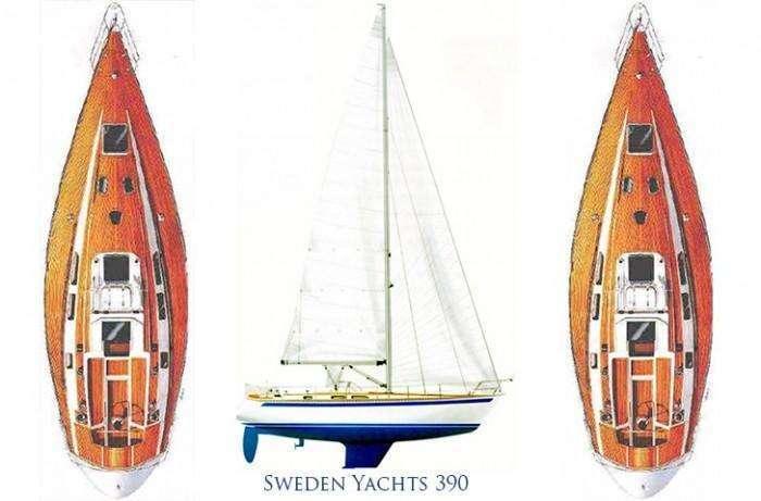 Sweden Yachts 390 sail plan, deck plan interior