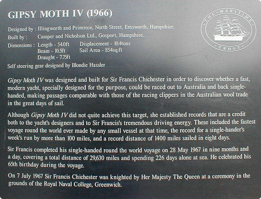 Gipsy Moth Plaque at Cutty Sark Greenwich