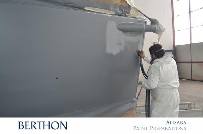 Berthon yacht paint preparation - sanding back