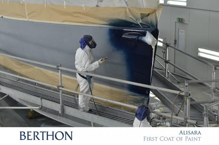First coat of paint being applied to the hull at Berthon